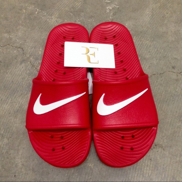 d573e64076d865 NIKE KAWA SHOWER SANDALS SWOOSH REDS WHITES WATER NWT